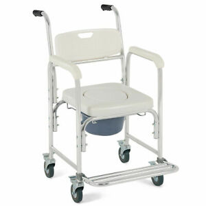 Medical-Commode-Wheelchair-Bedside-Toilet-Seat-Bathroom-Shower-w-Locking-Casters