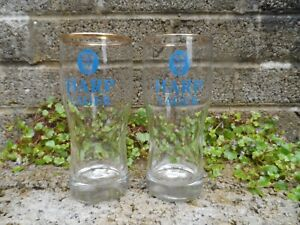 Pair-of-vintage-Harp-lager-half-pint-glasses-Irish-vintage-bar-collectables