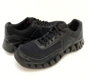 Reebok-Zig-Pulse-Mens-Running-Shoes-Black-Mesh-Lace-Up-Low-Top-1Y3502-816-9-5