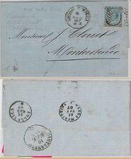 ITALIA REGNO storia postale - Sassone 24 su BUSTA da LIVORNO a MONTEROTONDO 1867
