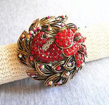 Elegant Retro Red Crystal Rhinestone Peacock Enamel Paint Wide Bracelet Bangle
