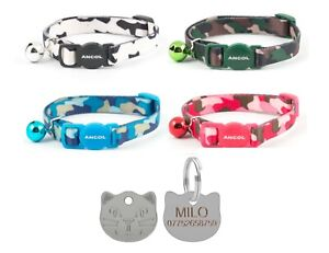 Cat-Collar-Ancol-Camouflage-Safety-Quick-Release-With-22mm-Cat-Face-Id-Tag