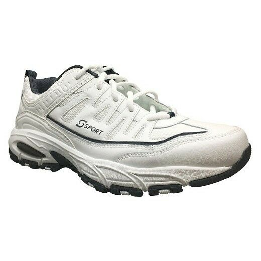 Scarpe skechers sport reattore / cuoio bianco memory foam scarpe / Uomo nwt!