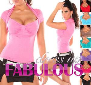New-Sexy-Bolero-Top-Size-10-8-6-Hot-Party-Casual-Wear-Shirts-Women-039-s-XS-S-M