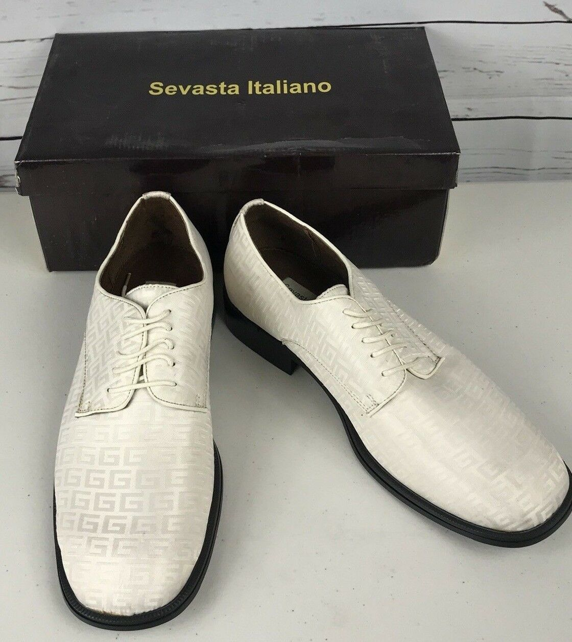 Sevasta Italiano Dress Mens Patent Leather Loafer Dress Italiano Shoe White Bone Size 13 NEW 90fb38