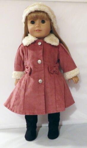"Lavender Corduroy Faux Fur Trim Coat Fits 18/"" American Girl Doll"