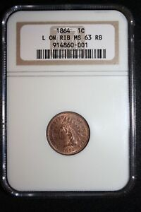 1864-L-NGC-Indian-Head-Penny-NGC-MS-63-RB-Lots-of-Red-L-on-Ribbon-Tough-Date