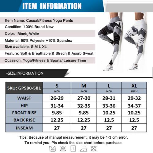 Womens High Waist Sports Yoga Pants Printed Fitness Workout Leggings Trousers N5