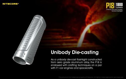 Nitecore P18 Unibody Die-cast Futuristic Tactical Flashlight 1800 Lumen w// 2x