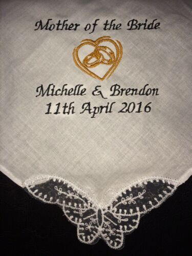 Mother of the Bride personalised embroidered Handkerchief present hankie favour