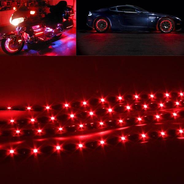 4pcs 30cm Waterproof 15 Red LED Car Truck Motor boat Flexible Strip Lights 12V