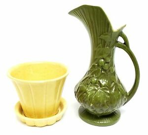 McCoy-Pottery-Olive-Green-Pitcher-Grapes-amp-Vines-and-Yellow-Planter