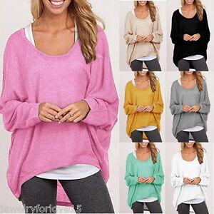FL-Damen-Strick-Bluse-Sweatshirt-Pullover-Locker-Asymmetrisch-Oversize-M8589