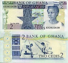 GHANA 2 Cedis Banknote World Paper Money UNC Currency Africa Bill Pick p18a Note
