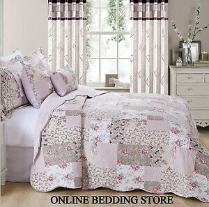 Beautiful-Floral-Vintage-Patchwork-Zurich-Quilted-Bedspread-amp-2-Pillow-Shams