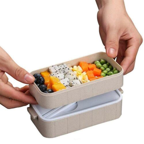 Microwave Bento Wheat Straw Lunch Box Picnic Food Container Wheat Nice