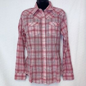 Wrangler-Women-039-s-Size-Small-Pink-Western-Cowgirl-Pearl-Snap-Plaid-Shirt-Roll-Tab