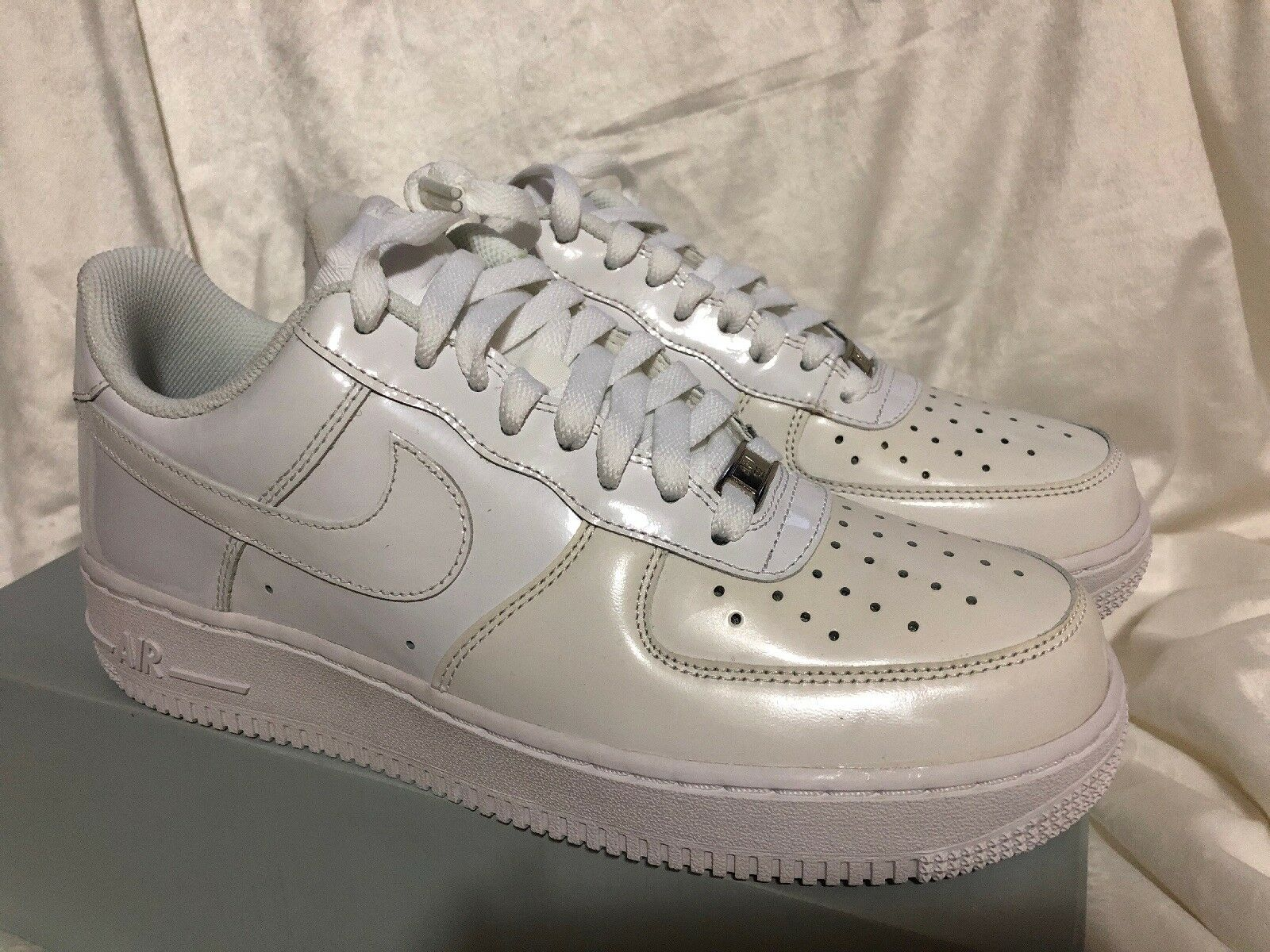 New in box deadstock Nike Air Force 1 White Patent Leather 488298-122 Size 7.5