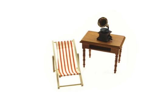 1:12 Scale Foldable Wooden Deckchair Lounge Beach Chair For  Doll  P*US