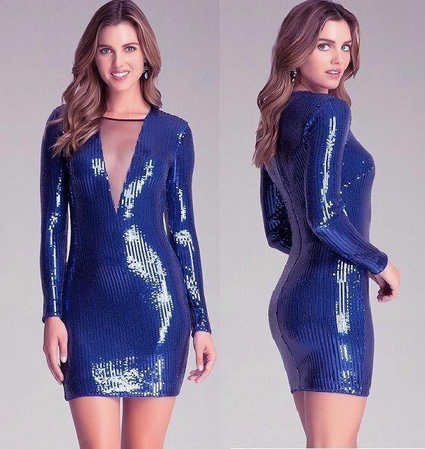 NWT Bebe Blau mesh deep v neck mesh sequin long sleeve top dress S Small club