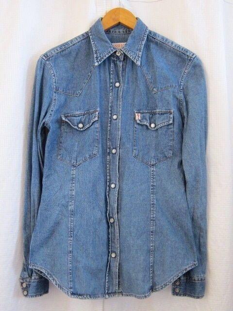 Vtg 80s 90s GUESS Jeans Snap Button Front bluee Denim Shirts Women's Top Sz Small