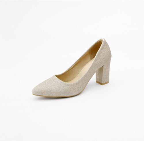 Fashion Spitz Zehe Damenschuhe Hoch Blockabsatz Plus Size Gr:34-48 OL Schuhe