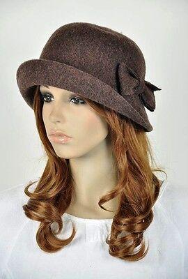 Cute Bow 2-Way-Use Winter Wool Fashion Lady Women's Hat Beanie Cap Coffee Brown