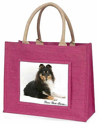 Shetland Hund 'Liebe, die Sie Mama' Große Rosa Einkaufstasche Weihnachten Prese,