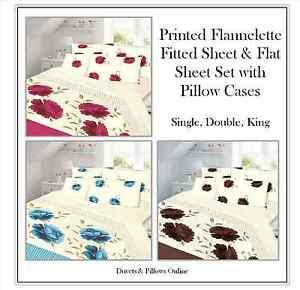 LUXURY-THERMAL-FLORAL-FLANNELETTE-SHEET-SET-FLAT-FITTED-SHEET-amp-PILLOWCASES