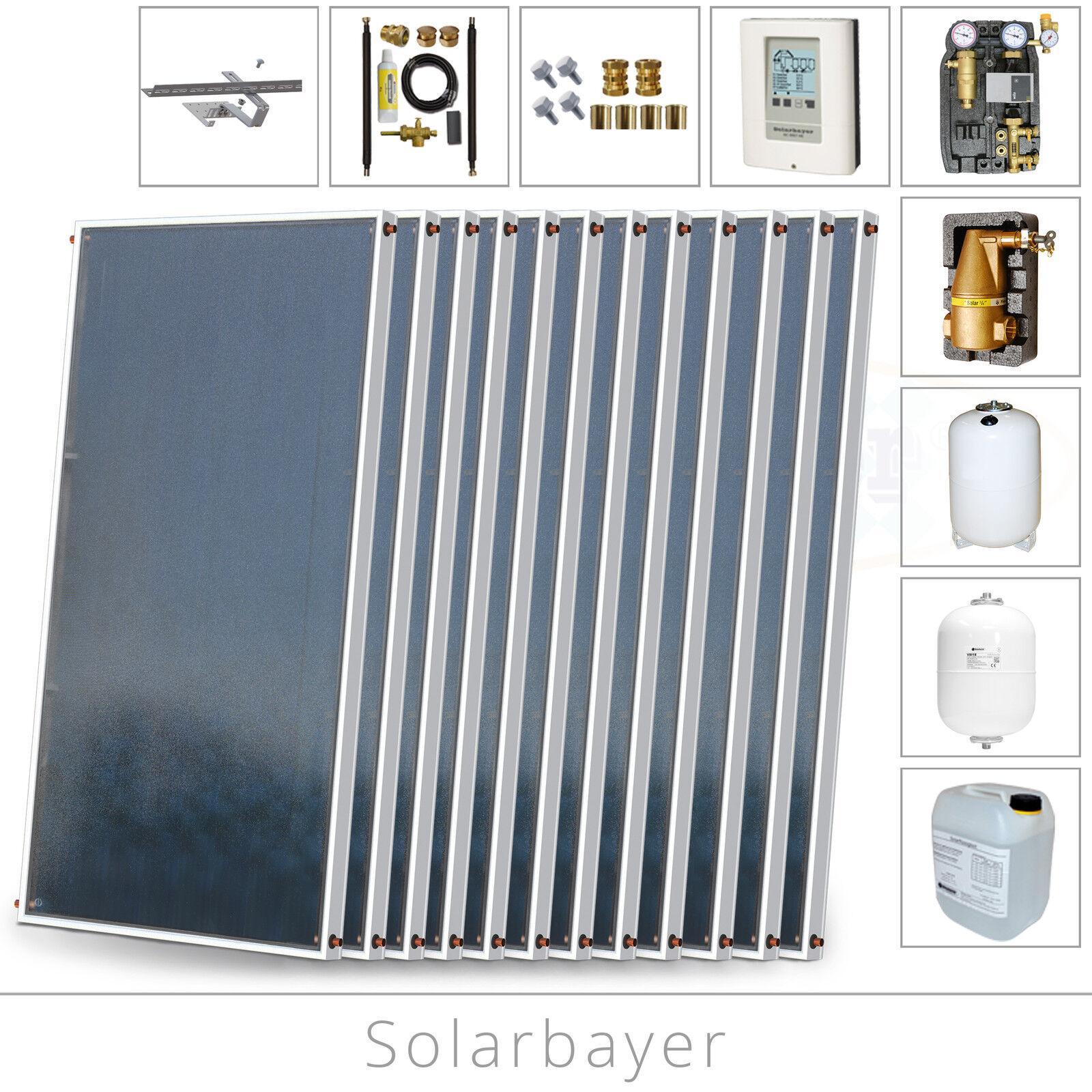 Solarbayer Solarwärme Solarpaket 24,24m² Solaranlage für Warmwasser + Heizung