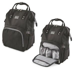 BLACK-Baby-Changing-Rucksack-Bag-Stroller-Attach-Change-Mat-Multi-bottle-Pocket