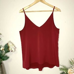 FOREVER NEW Burgundy Red Size 10 Lined Thin Strap Tank Top Singlet EUC
