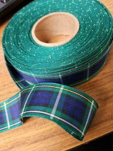 Tartan-Ribbon-Campbell-green-blue-plaid-1-034-width-4yds-made-in-UK-Beautiful