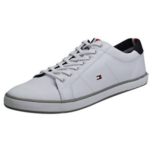 5f9d0a01f67b2 Image is loading Tommy-Hilfiger-Harlow-1d-Mens-White-Cotton-Trainers