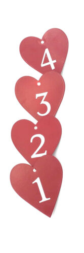 Adventskerzennadeln große Herzen 1 2 3 4 rot aus Metall