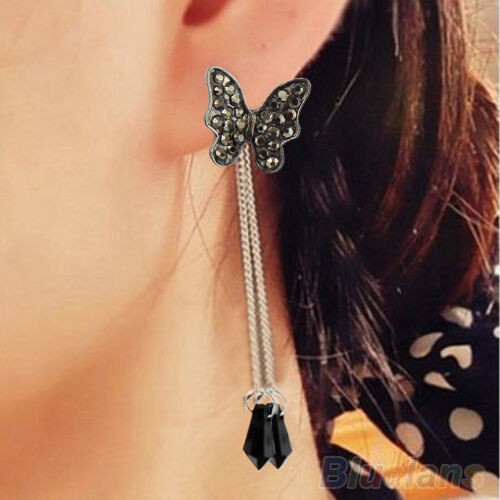 Cute Rhinestone Tassel Waterdrop Butterfly Dangle Pendant Stud Earrings Jewelry