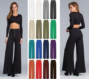 Women-Ladies-Palazzo-Plain-Flared-Wide-Leg-Pants-leggings-Baggy-Trousers