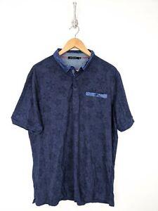 Bugatchi-Polo-Shirt-Men-XL-Blue-Gray-Paisely-Floral-Casual-Cotton