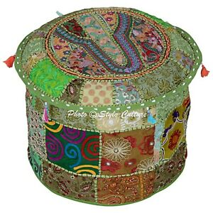 Ethnic-Round-Pouffe-Cover-Patchwork-Embroidered-Ottoman-Chair-Bohemian-18-034-Green
