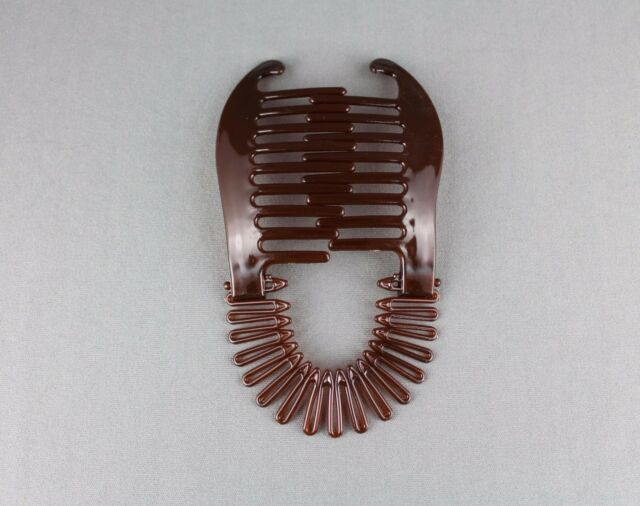 Brown Plastic Interlocking Banana Clip Hair Pony Tail Comb Flex Stretch Clincher