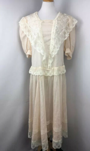 Vtg 70s Jessica McClintock Bridal Pink Lace Sheer