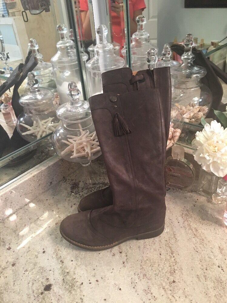 Aster Brown Tall Leather Boots 36 EU   6 US Women Tassels