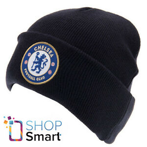 CHELSEA-FC-FOOTBALL-SOCCER-CLUB-TEAM-CAP-KNITTED-TURN-UP-BEANIE-HAT-NAVY-BLUE