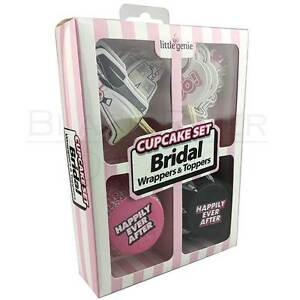 24 Piece Bridal Shower Cupcake Wrappers TopperS Bachelorette Party Favors