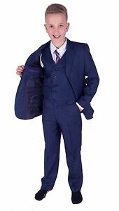 Boys-Suits-Bleu-5-pieces-Garcons-mariage-costume-Page-Garcon-Fete-Bal-2-To-15-ans