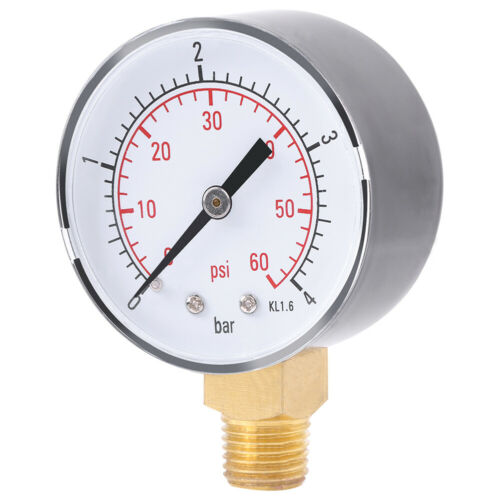 1PC Mini Pressure Gauge For Fuel Air Oil Or Water 0-4bar 0-60psi NPT SY
