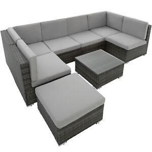 Groupe de sièges en rotin jardin poly rotin 6 sièges 1 tabouret 1 ...