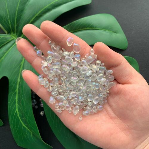 100g Titanium Aura Quartz Crystal Gravel Lot Tumbled Bulk Small Piece Polished