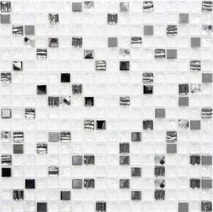 Glasmosaik-weiss-silber-BADEZIMMERWAND-DUSCHWAND-Fliesenspiegel-92-0107-b