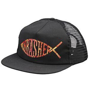 061debdbc5e Image is loading Thrasher-Magazine-FISH-LOGO-MESH-Skateboard-Trucker-Hat-